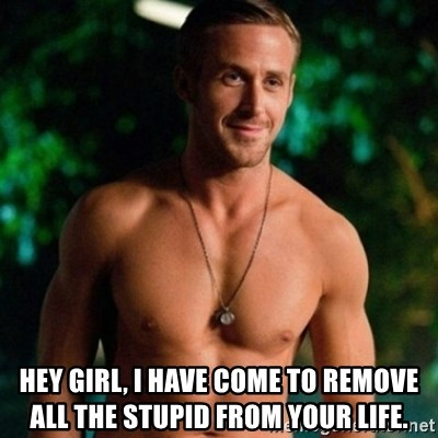 Hey Girl Ryan Gosling -  Hey Girl, I have come to remove all the stupid from your life.