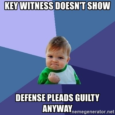 Success Kid - key witness doesn't show Defense pleads guilty anyway