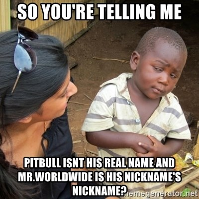 Skeptical 3rd World Kid - So you're telling me pitbull isnt his real name and mr.worldwide is his nickname's nickname?