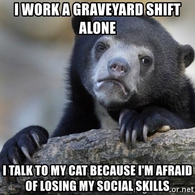 Confession Bear - I work a graveyard shift alone i talk to my cat because i'm afraid of losing my social skills