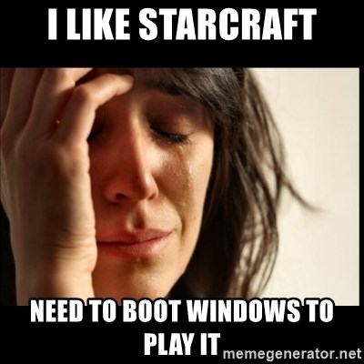 First World Problems - I Like starcraft need to boot windows to play it