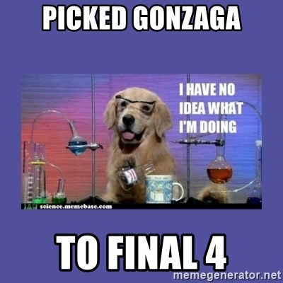I don't know what i'm doing! dog - picked gonzaga to final 4