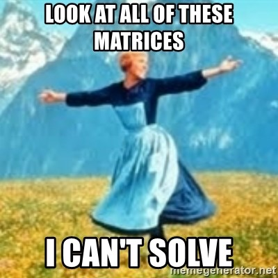look at all these things - look at all of these matrices i can't solve