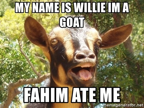 Illogical Goat - my name is willie im a goat fahim ate me