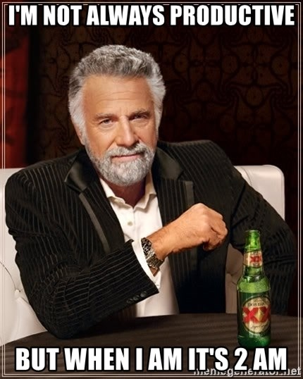 The Most Interesting Man In The World - I'm not always productive but when i am it's 2 am