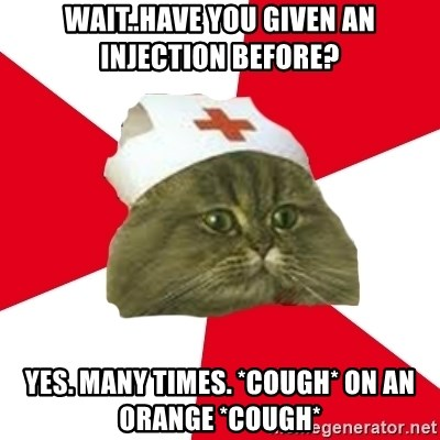 Nursing Student Cat - Wait..Have you given an injection before? Yes. Many times. *cough* on an orange *cough*