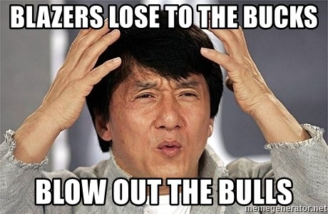 Jackie Chan - Blazers lose to the Bucks Blow out the bulls