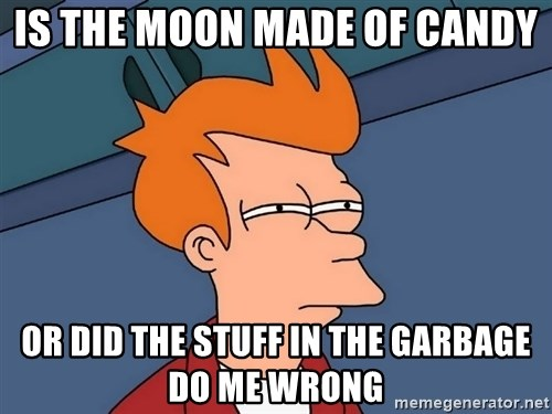 Futurama Fry - is the moon made of candy or did the stuff in the garbage do me wrong