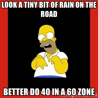 Homer retard - Look a tiny bit of rain on the road better do 40 in a 60 zone