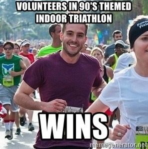 Ridiculously photogenic guy (Zeddie) - volunteers in 90's themed indoor triathlon wins