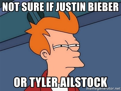Futurama Fry - not sure if justin bieber  or tyler ailstock