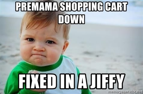fist pump baby - Premama Shopping cart down fixed in a jiffy
