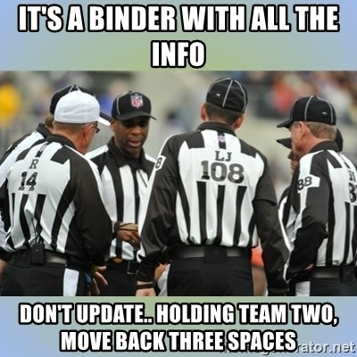 NFL Ref Meeting - IT'S A BINDER WITH ALL THE INFO DON'T UPDATE.. HOLDING TEAM TWO, MOVE BACK THREE SPACES