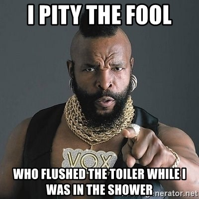 Mr T - i pity the fool who flushed the toiler while i was in the shower