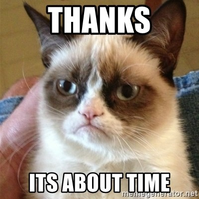 Grumpy Cat  - thanks its about time