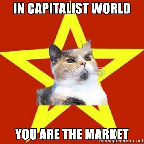 Lenin Cat Red - In Capitalist world You are the market