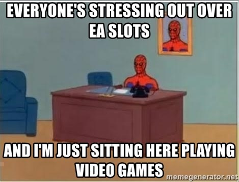 Spiderman Desk - Everyone's stressing out over ea slots and i'm just sitting here playing video games