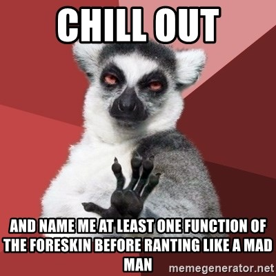 Chill Out Lemur - Chill out and name me at least one function of the foreskin before ranting like a mad man
