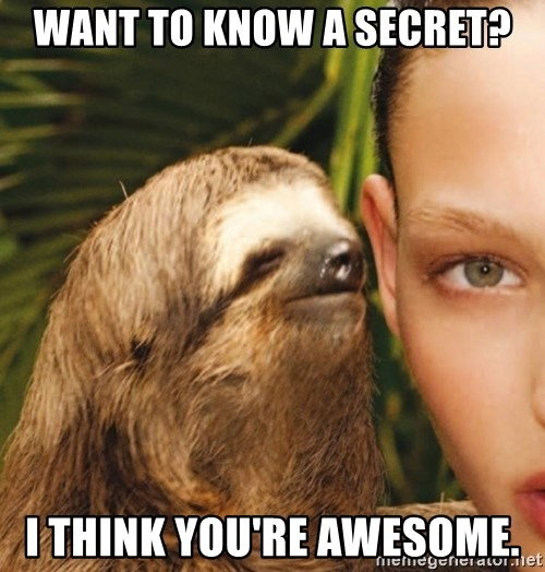 The Rape Sloth - Want to know a secret? I think you're awesome.