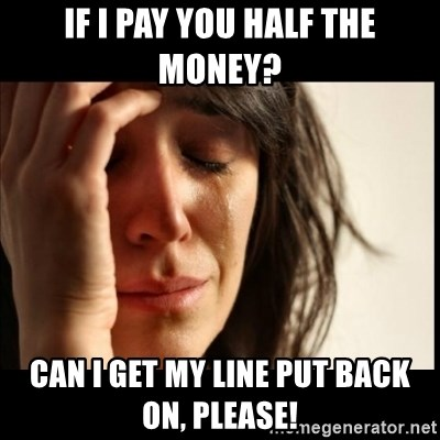 First World Problems - if i pay you half the money? Can i get my line put back on, please!