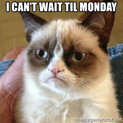 Grumpy Cat  - I can't wait til monday