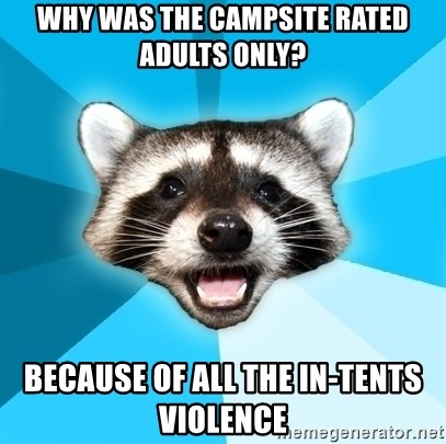 Lame Pun Coon - why was the campsite rated adults only? because of all the in-tents violence