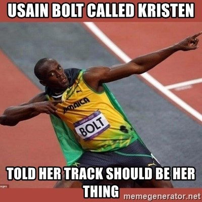 USAIN BOLT POINTING - Usain Bolt called kristen told her track should be her thing