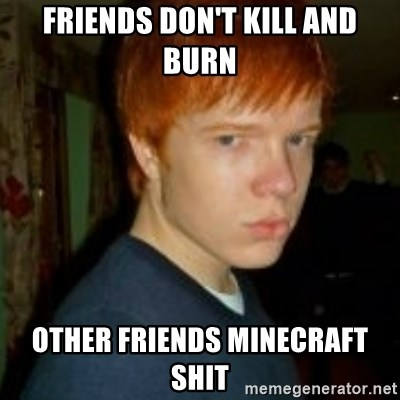 Flame_haired_Poser - FRIENDS DON'T KILL AND BURN OTHER FRIENDS MINECRAFT SHIT