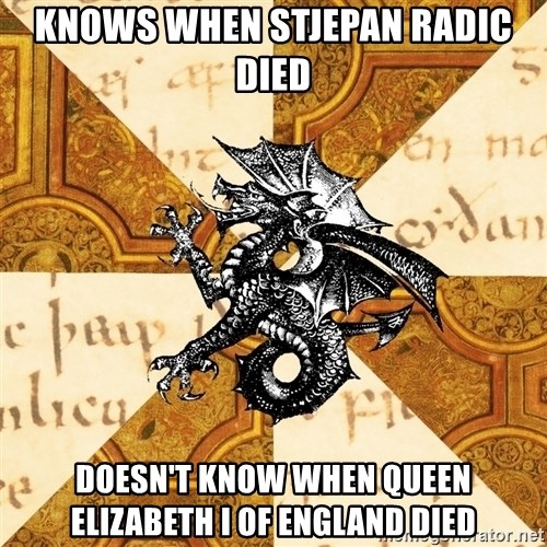 History Major Heraldic Beast - knows when stjepan radic died doesn't know when queen elizabeth i of england died