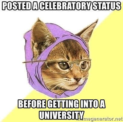 Hipster Cat - posted a celebratory status before getting into a university