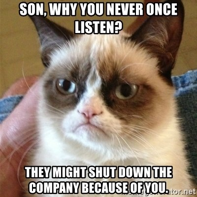 Grumpy Cat  - son, why you never once listen? they might shut down the company because of you.