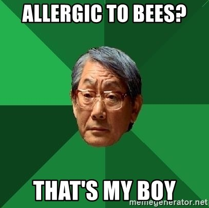 High Expectations Asian Father - ALLERGIC to bees?  that's my boy