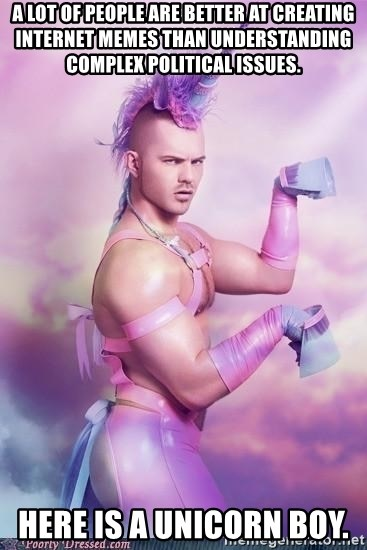 Unicorn Boy - A lot of people are better at creating internet memes than understanding complex political issues.  HERE IS A UNICORN BOY.