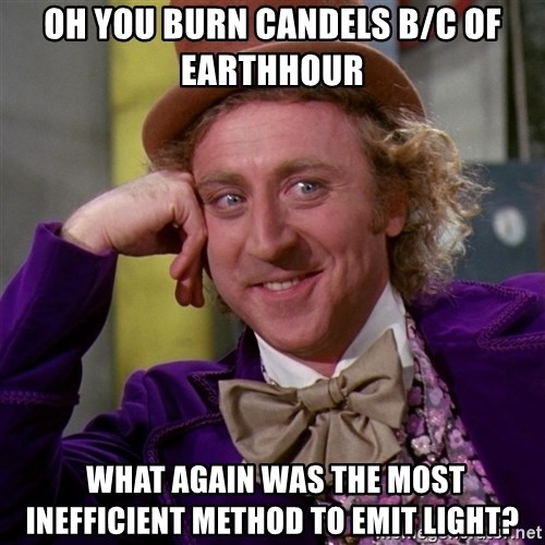 Willy Wonka - Oh you burn candels b/c of earthhour  what again was the most inefficient method to emit light?
