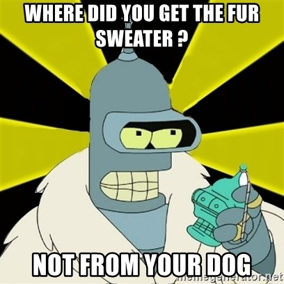 Bender IMHO - WHERE DID YOU GET THE FUR SWEATER ? NOT FROM YOUR DOG