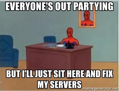 Spiderman Desk - everyone's out partying but I'll just sit here and fix my servers