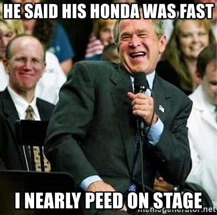 Laughing Bush - he said his honda was fast i nearly peed on stage