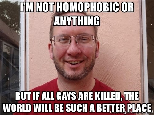Asshole Christian missionary - i'm not homophobic or anything but if all gays are killed, the world will be such a better place