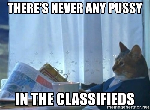 I should buy a cat - There's never any pussy In the classifieds