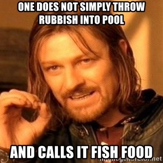 One Does Not Simply - one does not simply throw rubbish into pool and calls it fish food