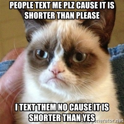 Grumpy Cat  - PEOPLE TEXT ME PLZ CAUSE IT IS SHORTER THAN PLEASE I TEXT THEM NO CAUSE IT IS SHORTER THAN YES