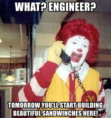 Ronald Mcdonald Call - what? engineer? tomorrow you'll start building beautiful sandwinches here!