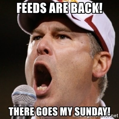 Pauw Whoads - feeds are back! there goes my sunday!