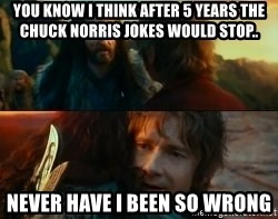 Never Have I Been So Wrong - you know i think after 5 years the chuck norris jokes would stop.. Never Have I Been So Wrong