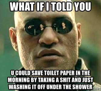 What if I told you / Matrix Morpheus - What if i told you  U could save toilet paper in the morning by taking a shit and Just washing it off under the shower