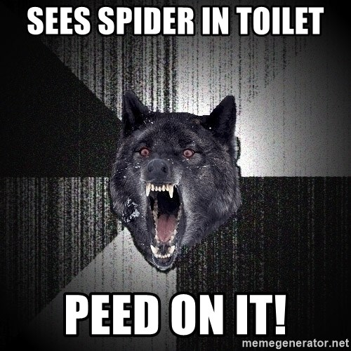 Insanity Wolf - SEES SPIDER IN TOILET PEED ON IT!