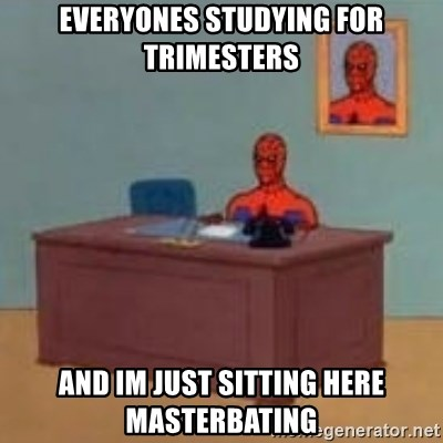 and im just sitting here masterbating - everyones studying for trimesters and im just sitting here masterbating