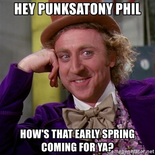 Willy Wonka - Hey punksatony phil How's that Early spring coming for ya?