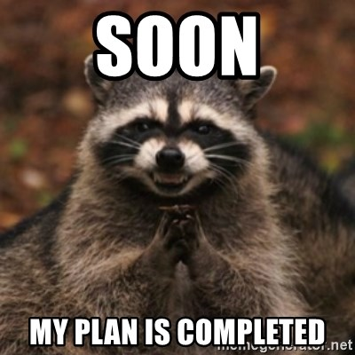 evil raccoon - Soon my plan is completed