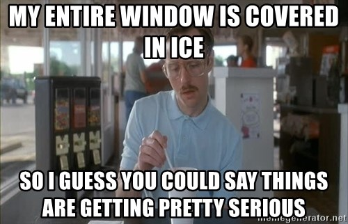 so i guess you could say things are getting pretty serious - My entire window is covered in ice so i guess you could say things are getting pretty serious